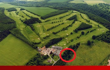 The red circle marks the location of the 1939 cemetery discoveries