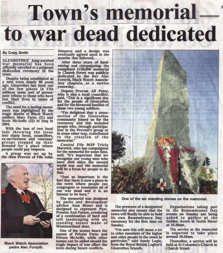 glenrothes war memorial newsclipping