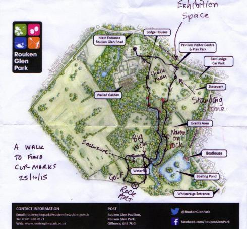 My walk, overlain on the official park map