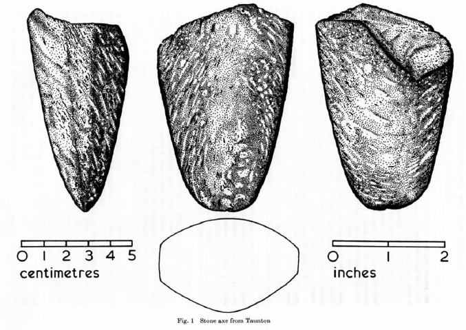 stone axe from taunton drawing